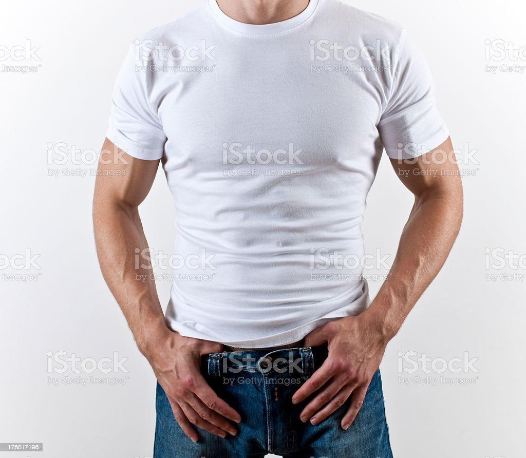 Muscular male in white t-shirt stock photo
