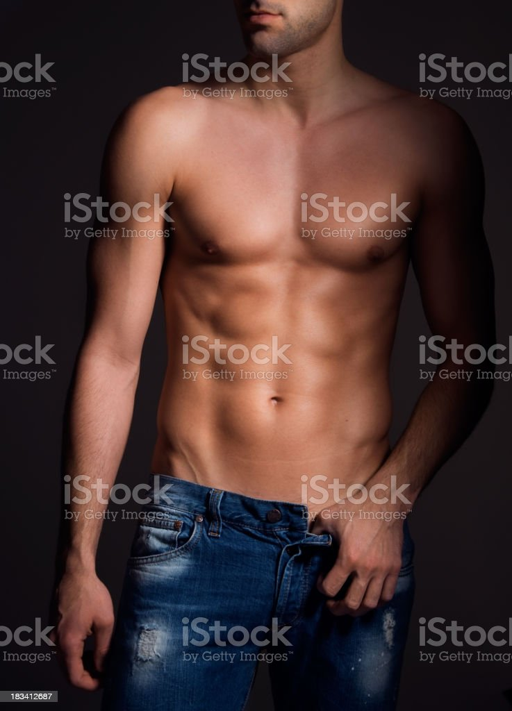 Muscular male torso. royalty-free stock photo