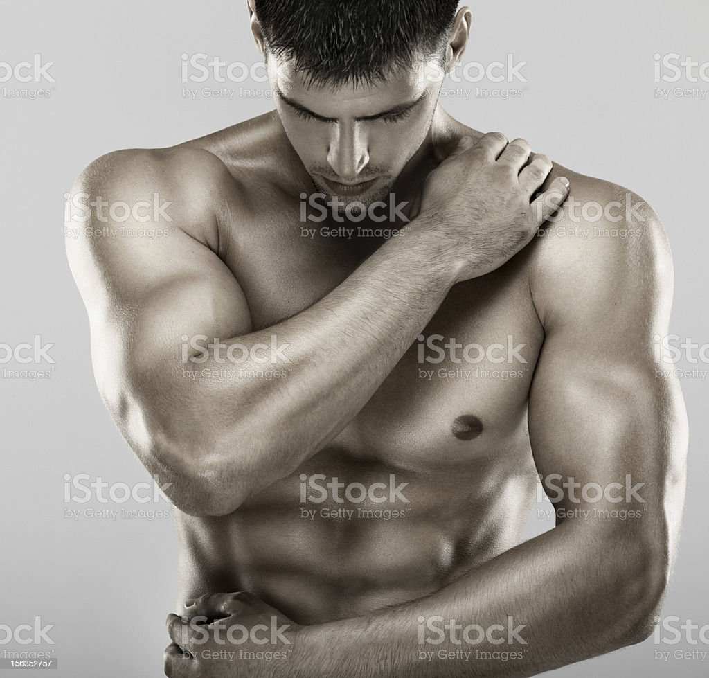 Muscular male upper body. royalty-free stock photo