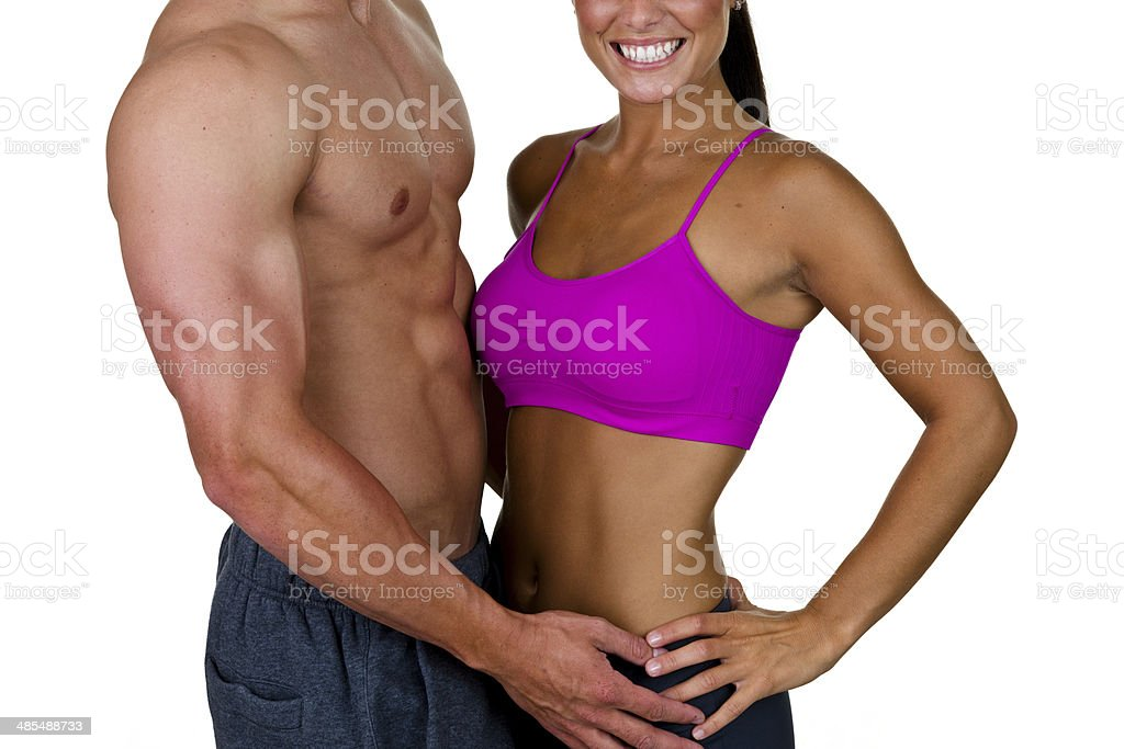 Muscular man and woman royalty-free stock photo