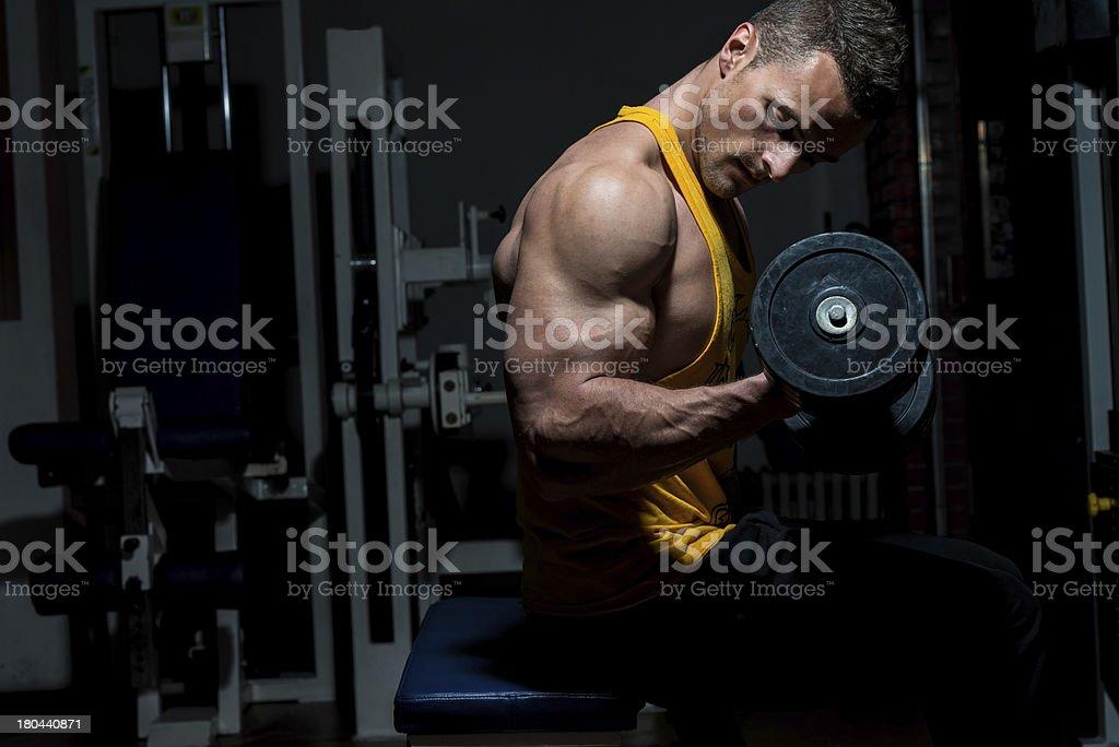 Muscular man doing biceps curls in spotlight royalty-free stock photo