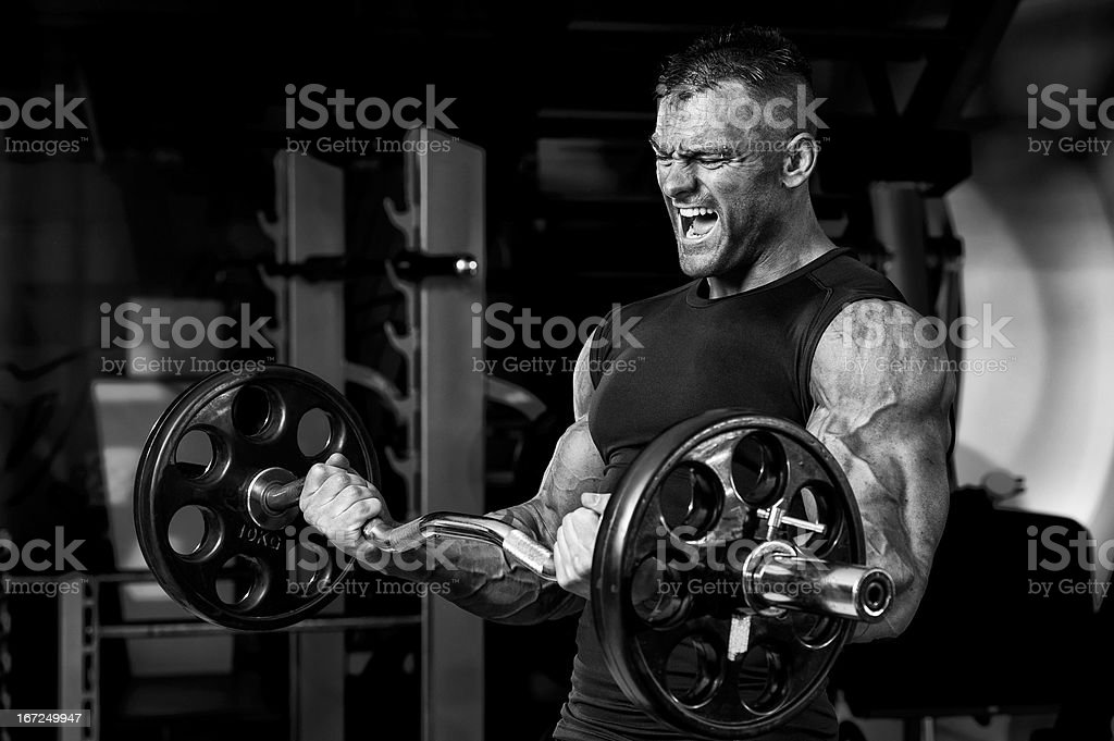 Muscular Man Doing Heavy Barbell Exercise royalty-free stock photo