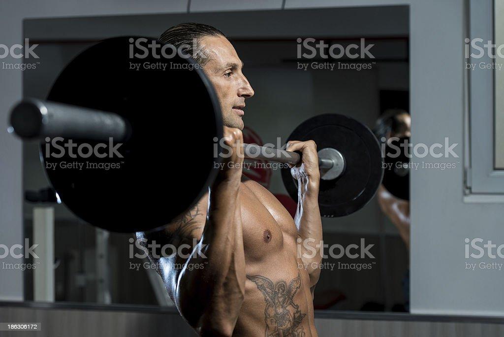 Muscular Man Exercising In Gym royalty-free stock photo