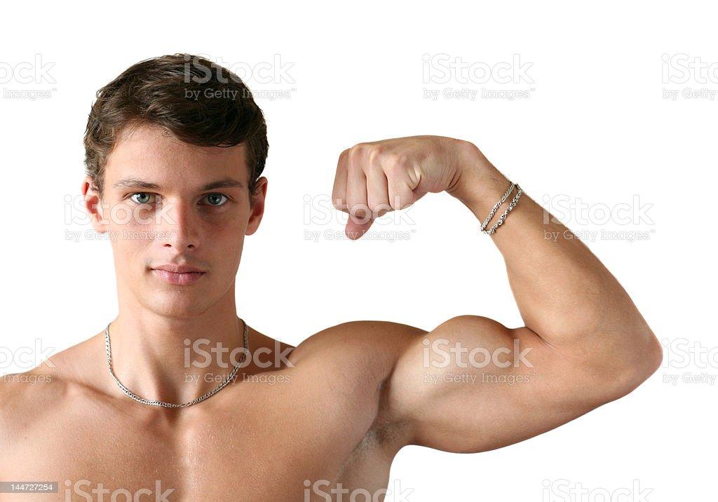 Muscular Man Flexing His Biceps royalty-free stock photo