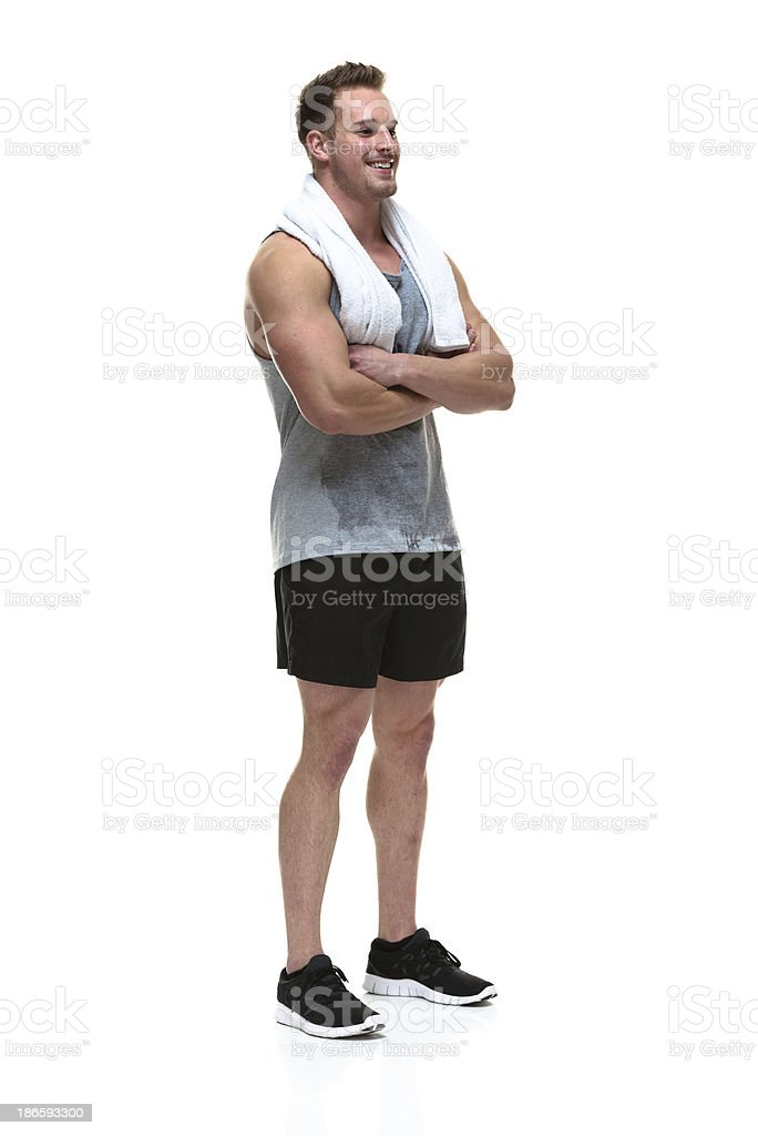Muscular man in a white background royalty-free stock photo
