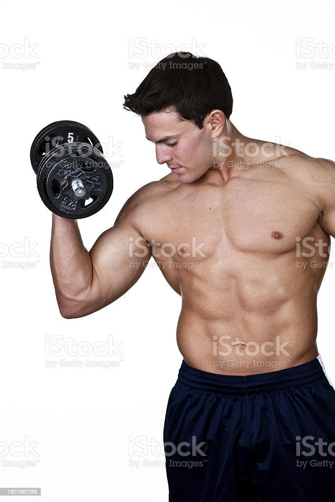 Muscular man lifting weights royalty-free stock photo
