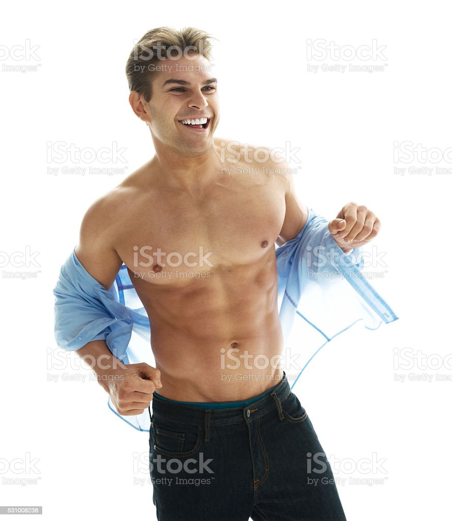 Muscular man looking away stock photo