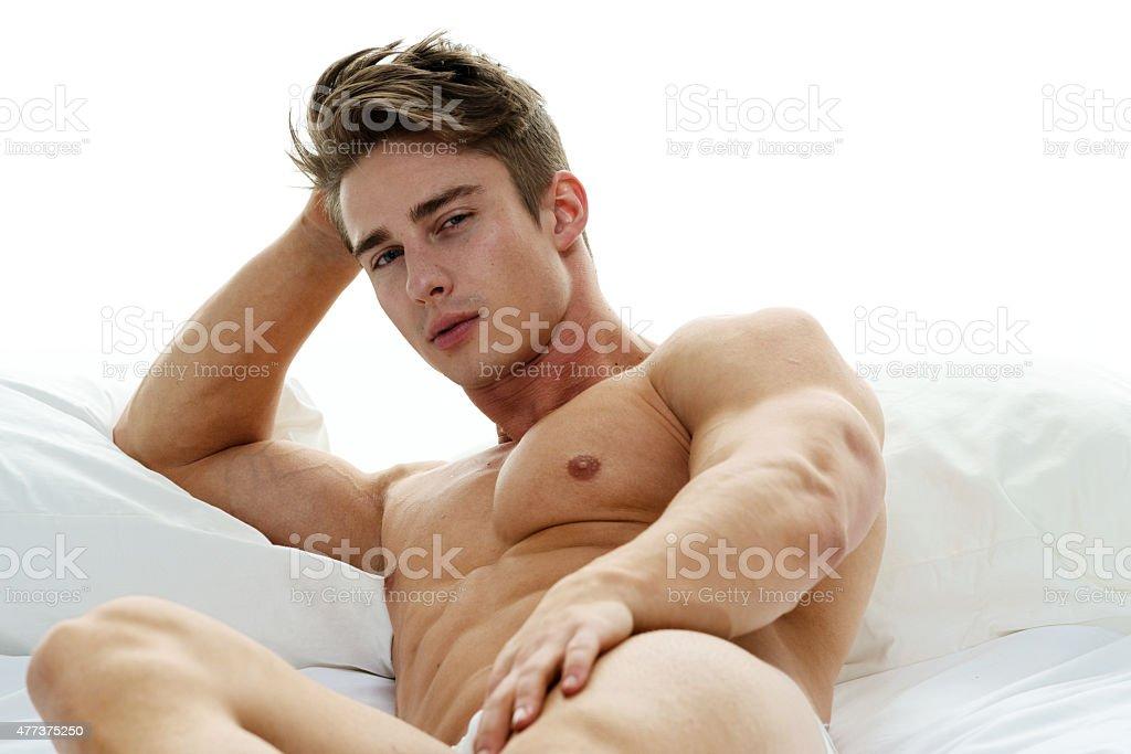 muscular men bare back