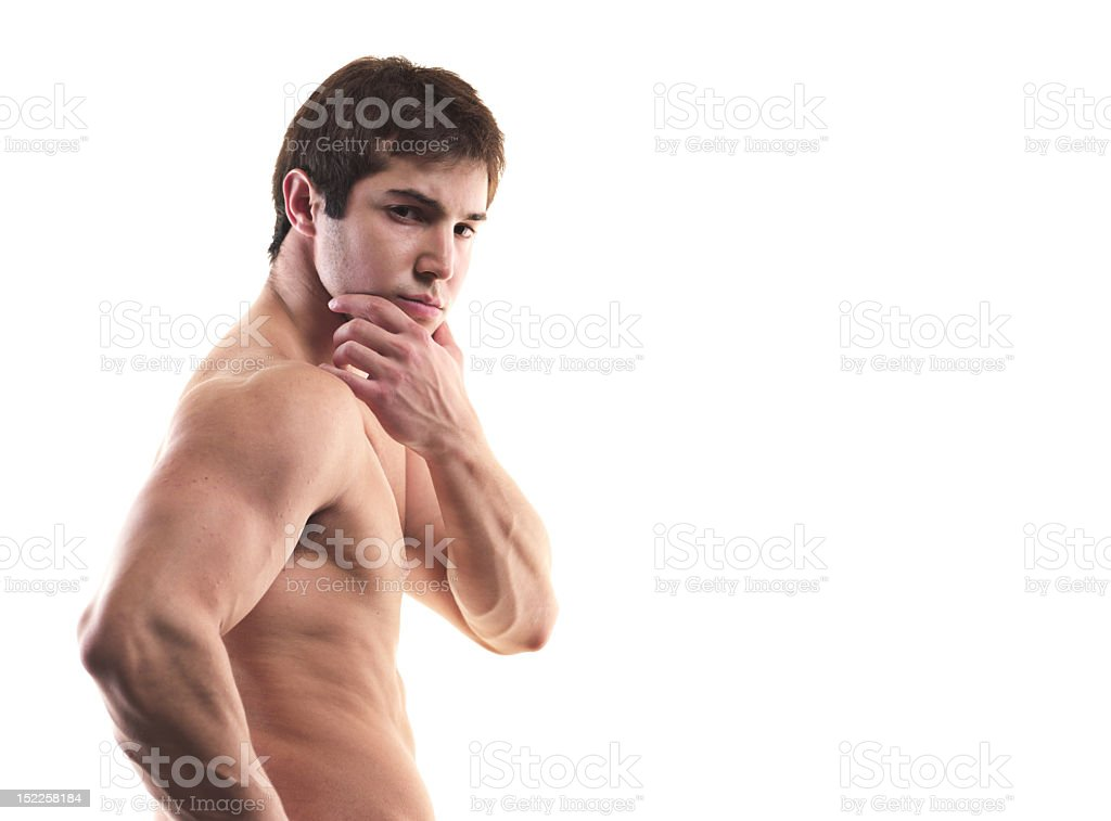 Muscular man portrait on white, copyspace left royalty-free stock photo