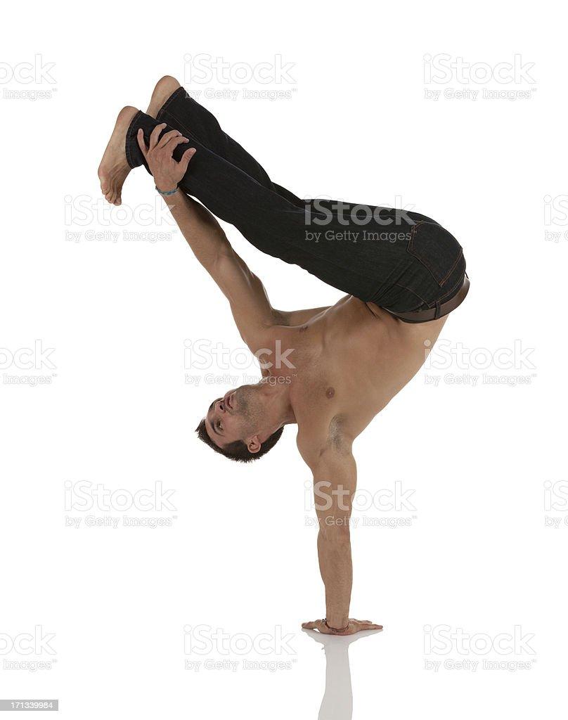 Muscular man practicing capoeira royalty-free stock photo