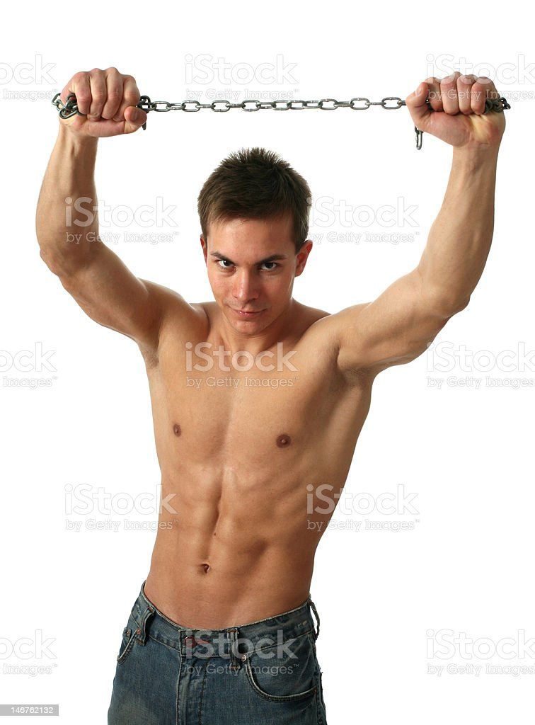Muscular Man with a Chain royalty-free stock photo