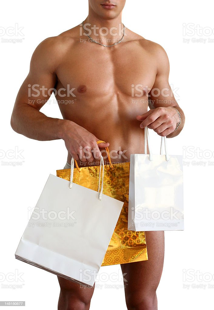Muscular Man with Gift Bags Isolated on White royalty-free stock photo