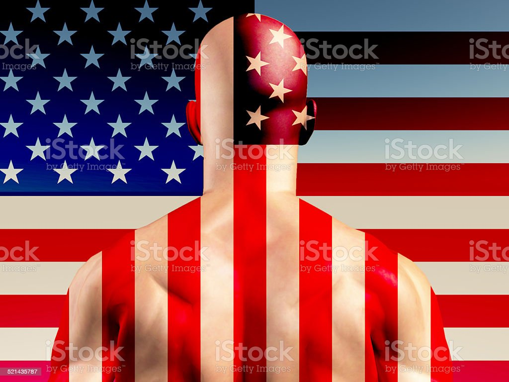 Muscular Man with USA Flag stock photo