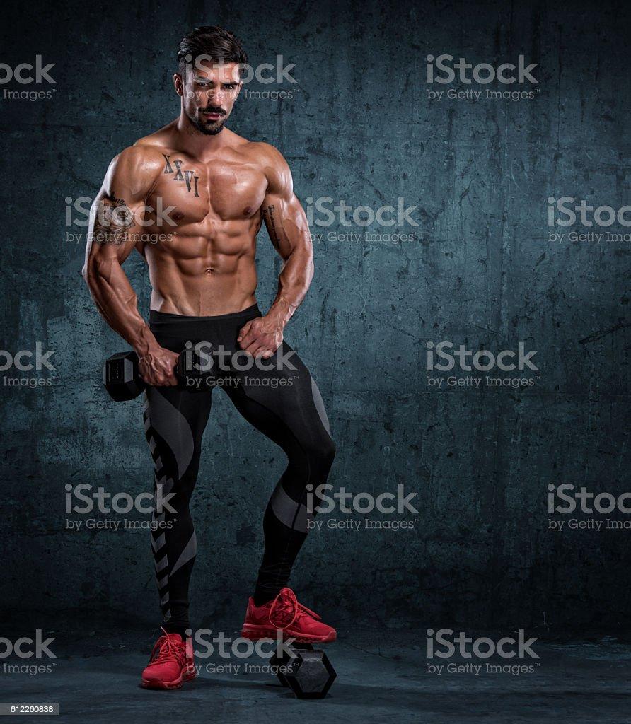 Muscular men Standing Strong stock photo