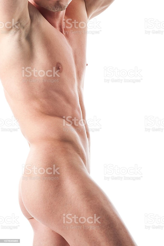 Muscular nude male back royalty-free stock photo