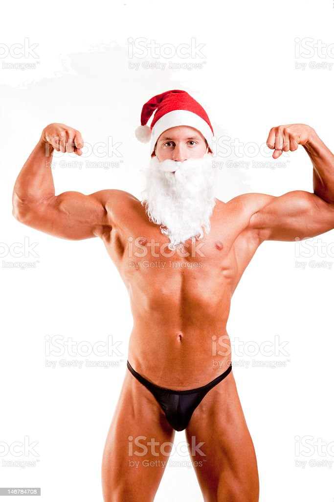 muscular santa claus royalty-free stock photo