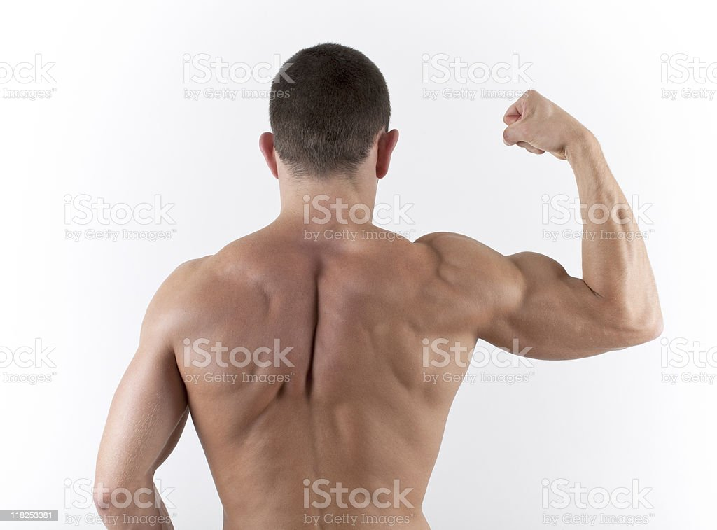 Muscular Shirtless male Flexing Bicept royalty-free stock photo