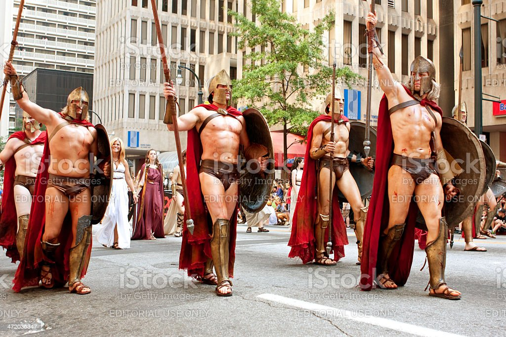 Muscular Spartans From Movie 300 Walk In Dragon Con Parade stock photo