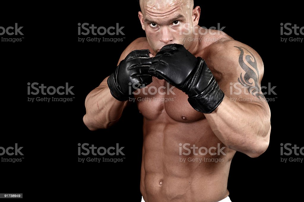 Muscular ultimate fighter royalty-free stock photo