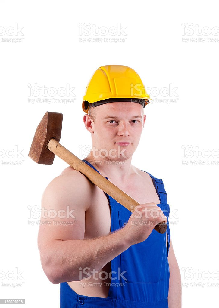 muscular worker royalty-free stock photo