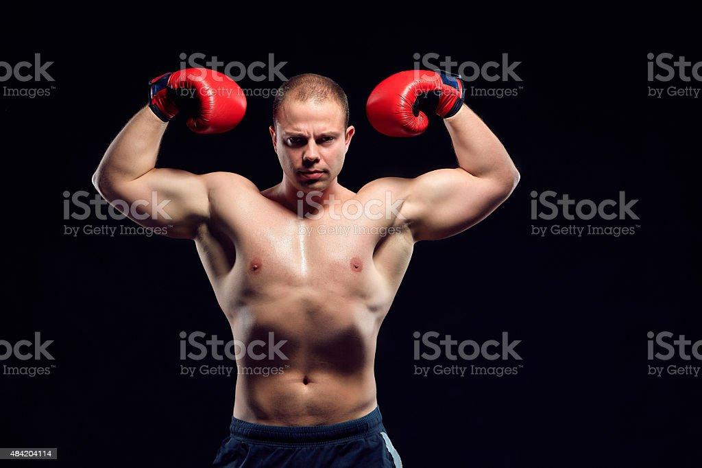 Muscular young caucasian boxer stock photo