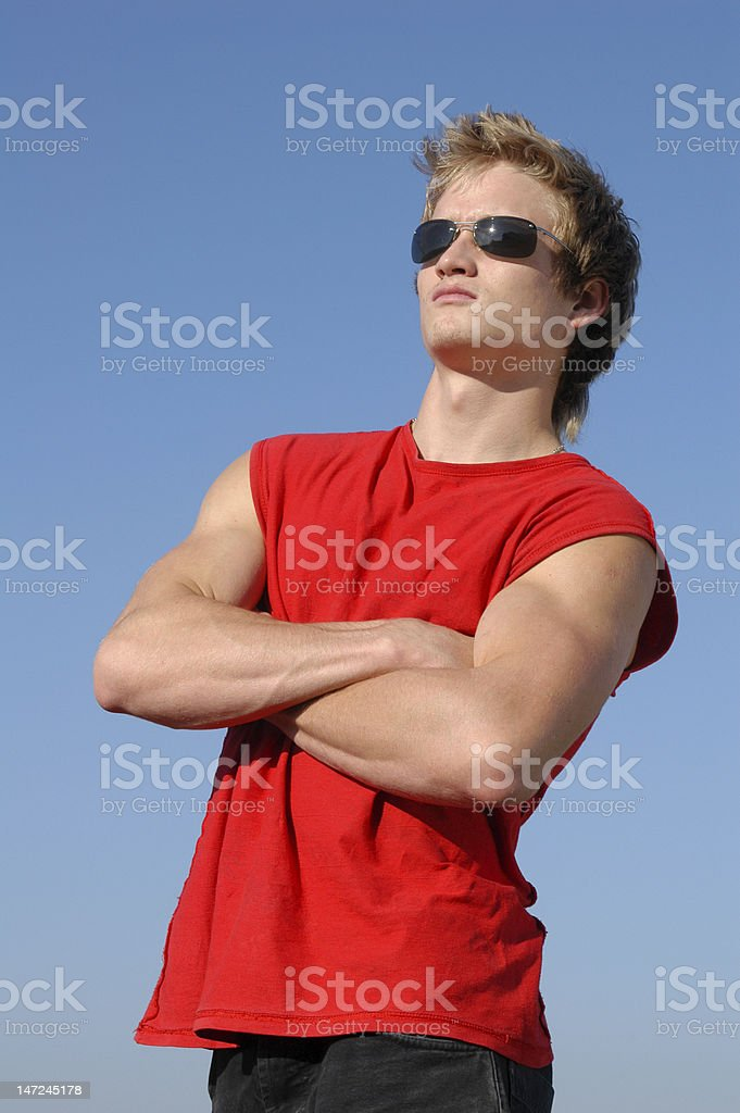 Muscular Young Man in Red royalty-free stock photo