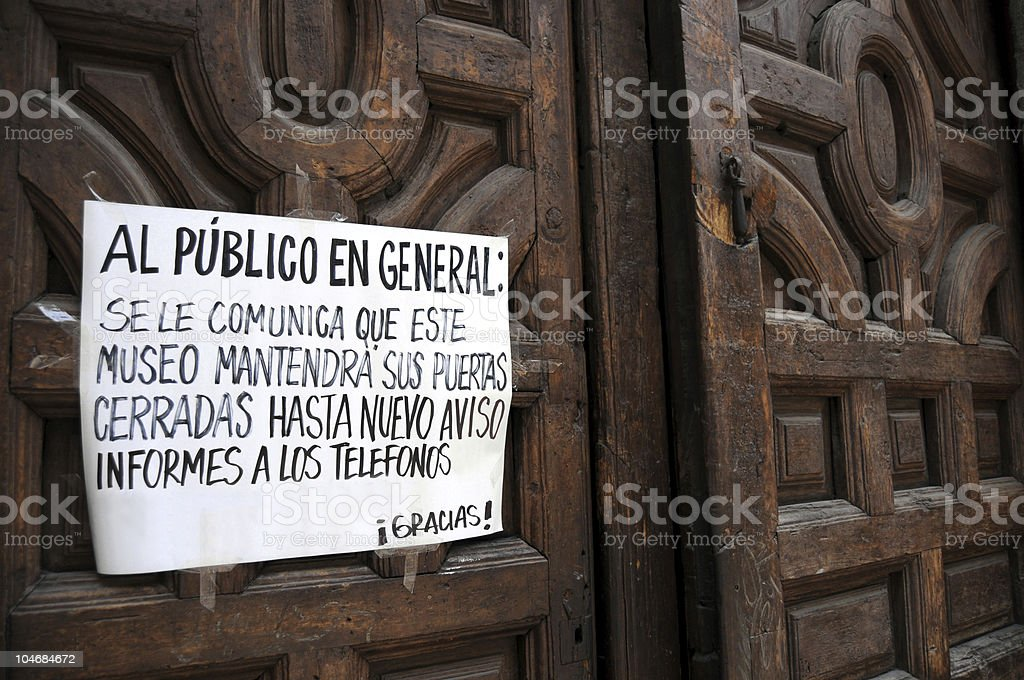 Museum closed because of influenza stock photo