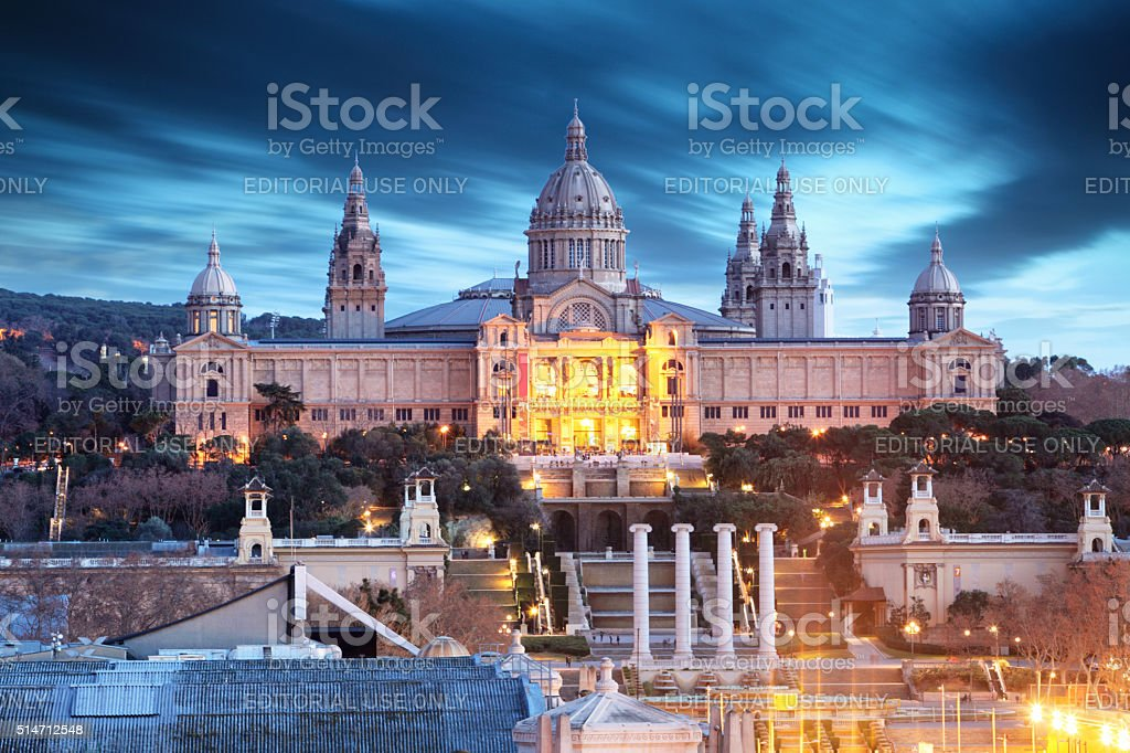 Museum located at Montjuic area in Barcelona, Spain stock photo