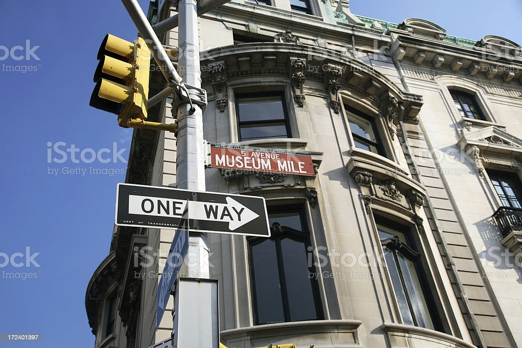 Museum Mile Street Sign On Fifth Avenue stock photo