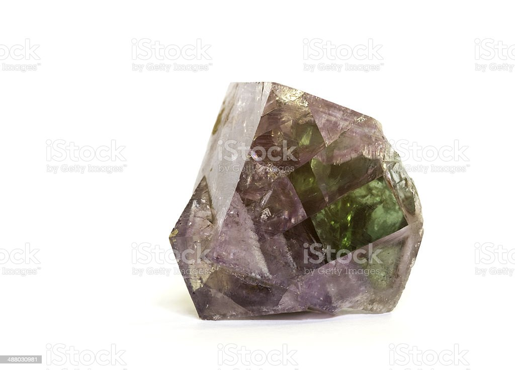 Museum mineral series: Fluorite crystal from Durham, UK. 5.9cm across. stock photo
