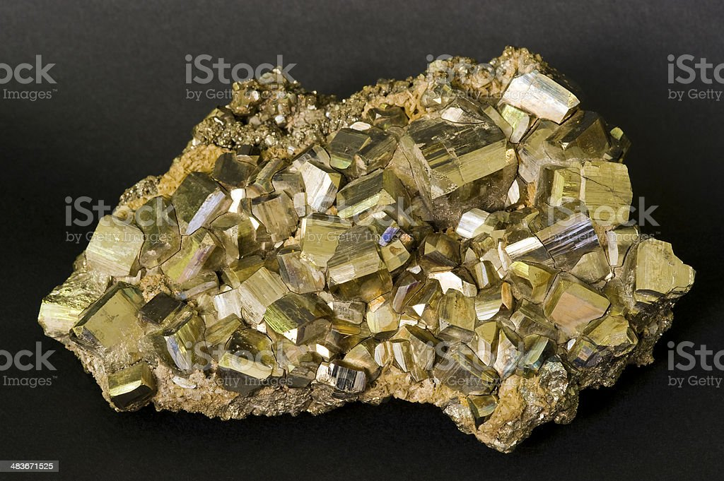 Museum mineral series: Iron Pyrites from Italy. 14cm long. stock photo