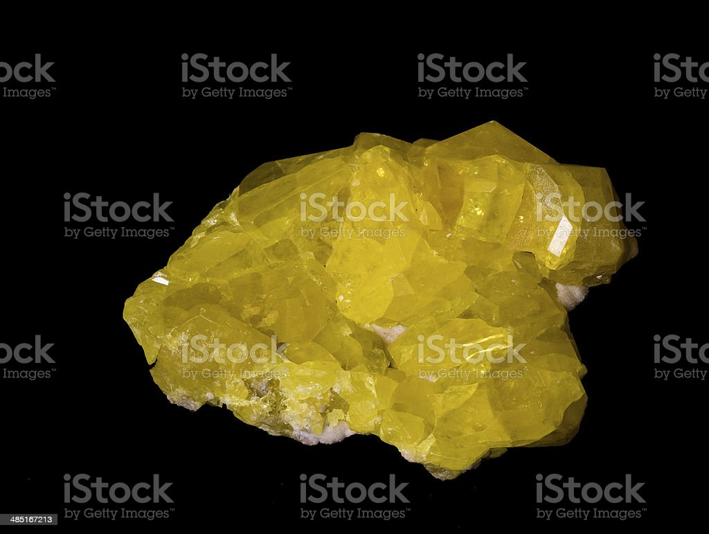 Museum mineral series: Native sulphur from Sicily, Italy. 9cm across. stock photo