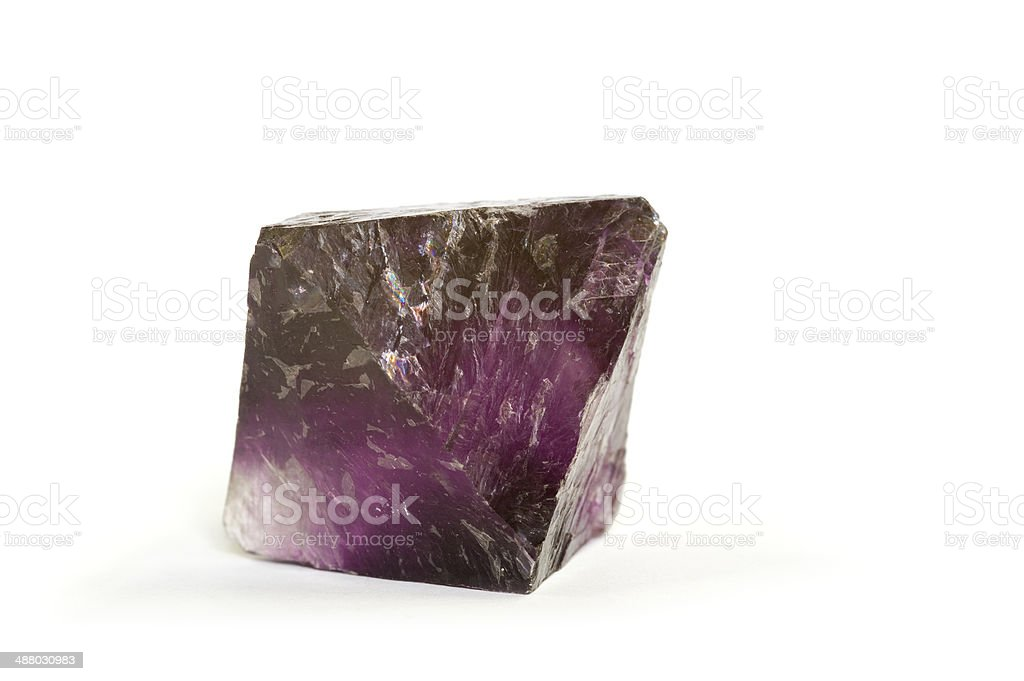 Museum mineral series: Octahedral Fluorite crystal from Illinois. 4cm across. stock photo