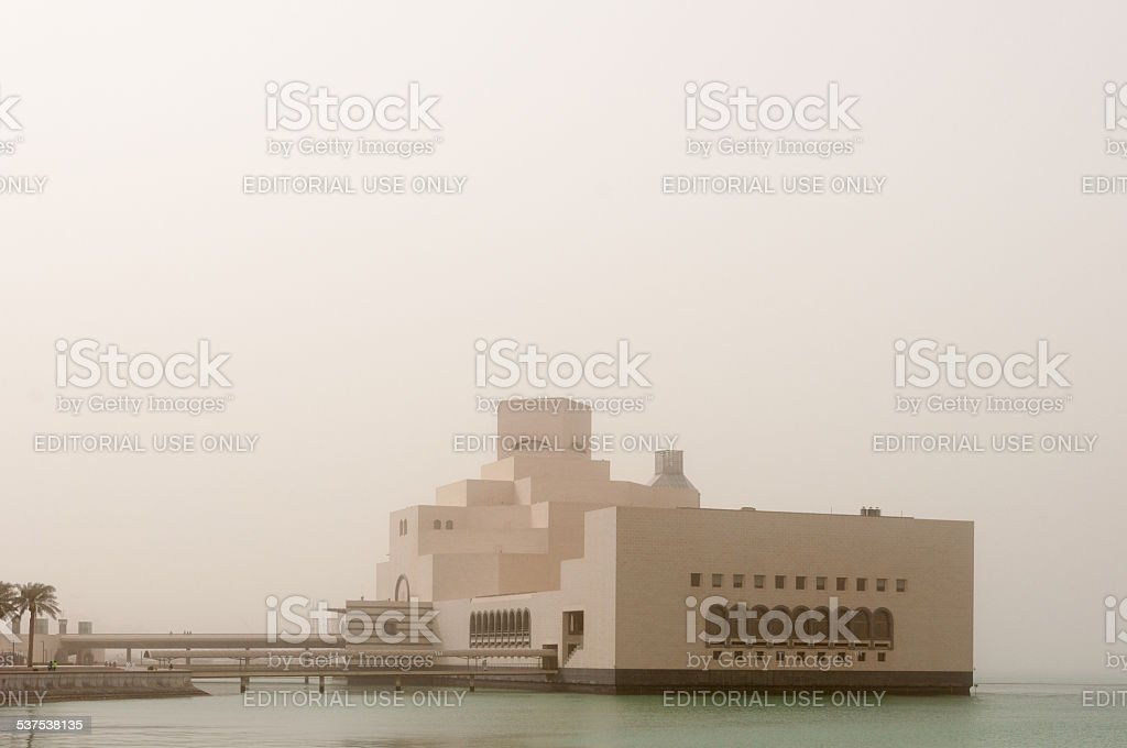 Museum of Islamic Art (MIA) in a sandstorm, Doha, Qatar; stock photo