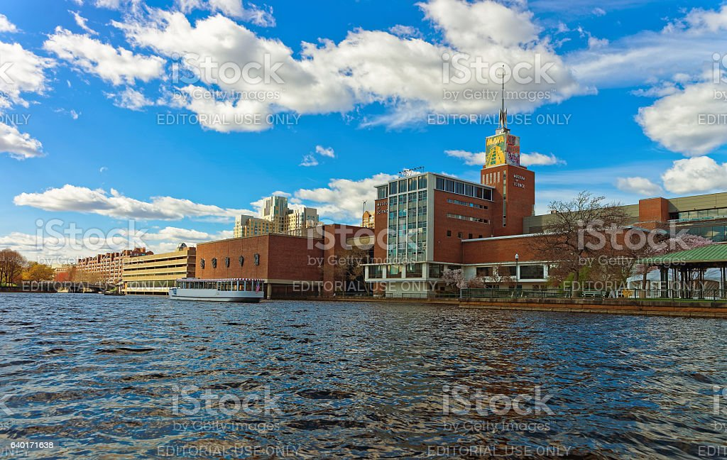 Museum of Science in Science Park and Charles River Boston stock photo