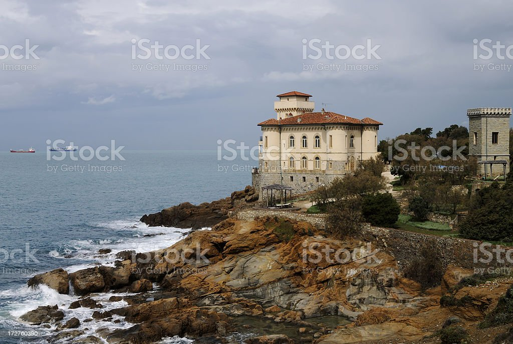 Museum overlooking the sea. Tuscany,Italy. royalty-free stock photo