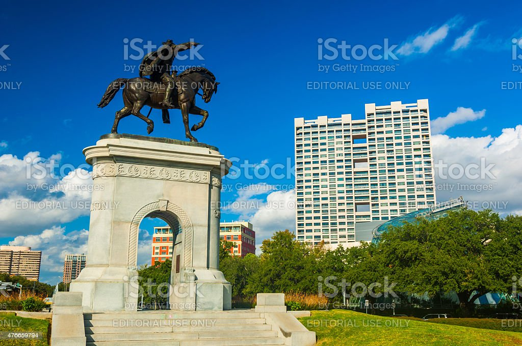 Museum Square with the Sam Houston monument and arch stock photo