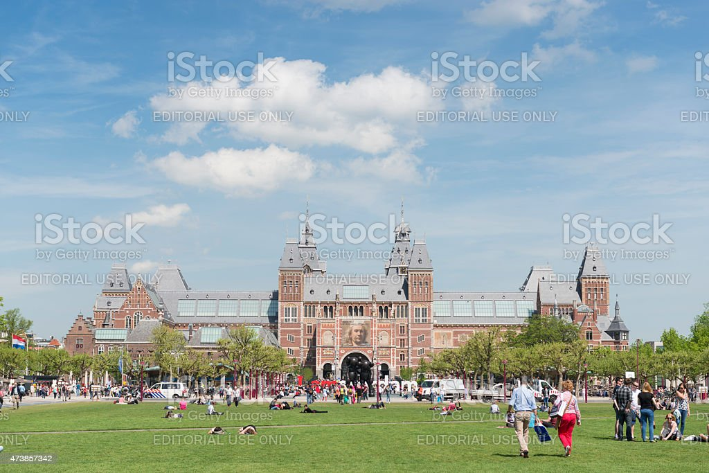 Museumplein and the Rijksmuseum stock photo
