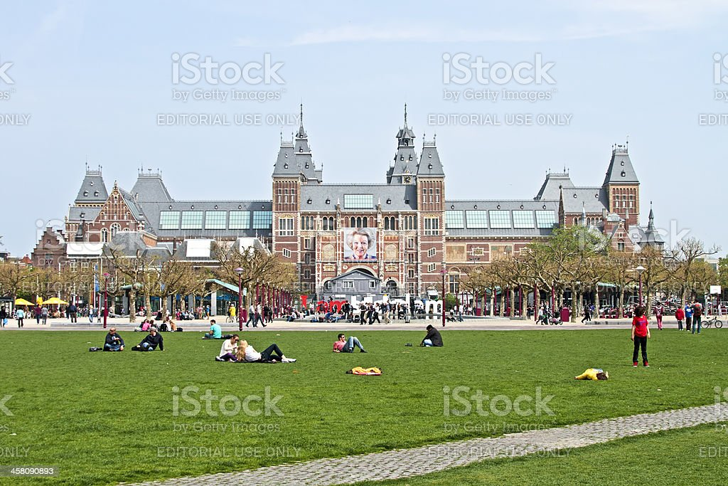Museumplein with Rijksmuseum in Amsterdam the Netherlands stock photo