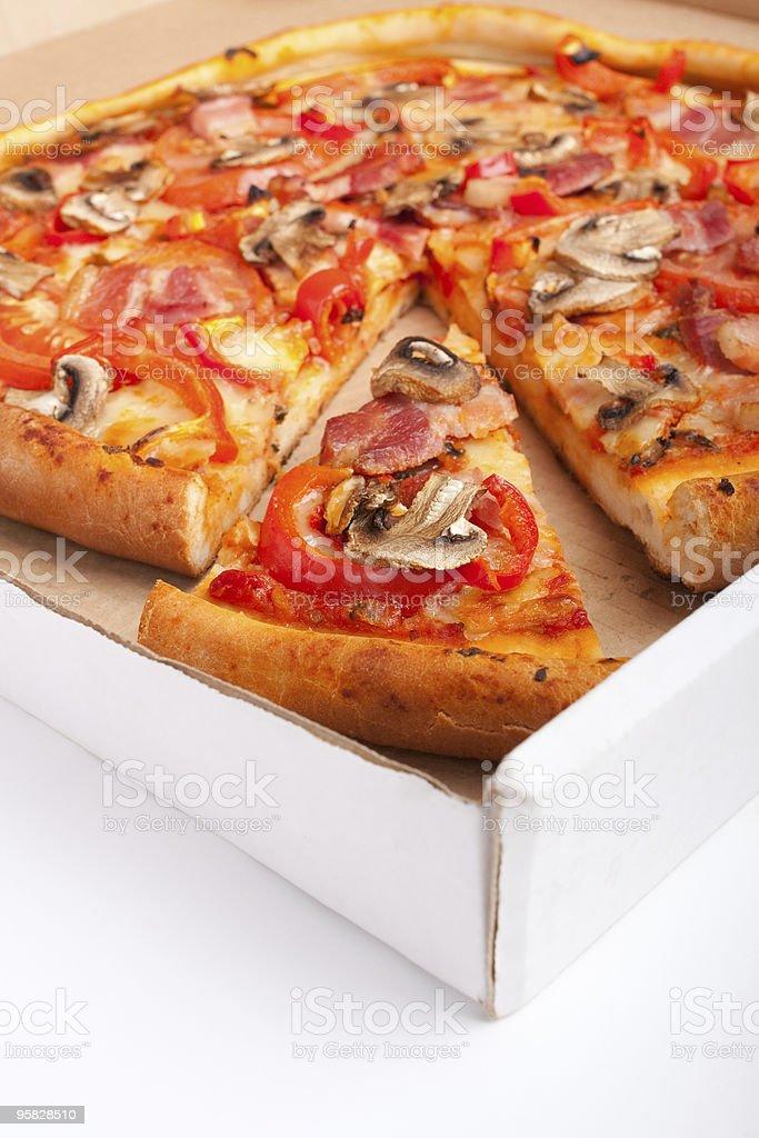 mushroom and bacon pizza royalty-free stock photo