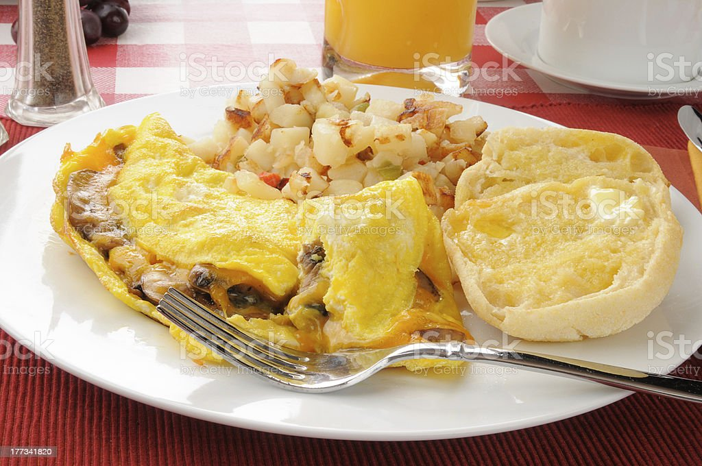Mushroom and cheddar cheese omelet royalty-free stock photo