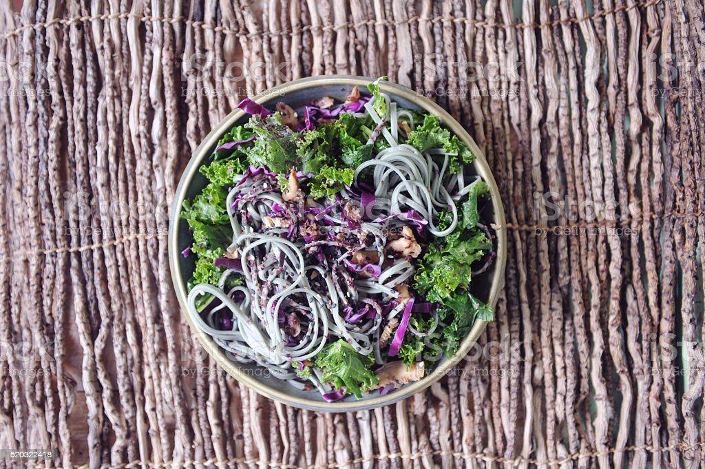 Mushroom and Kale Noodle Salad stock photo