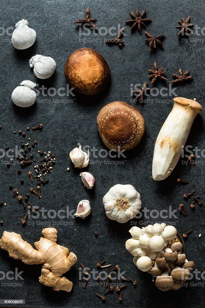 Mushroom and spices background stock photo