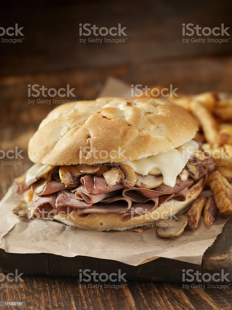 Mushroom and Swiss Ham Sandwich stock photo
