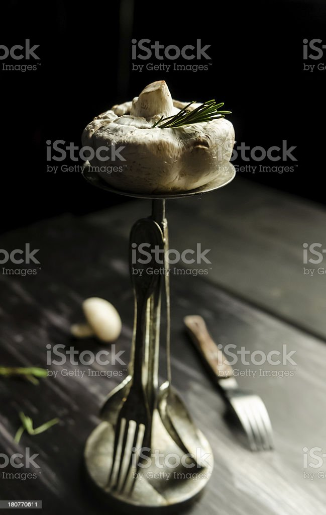 Mushroom and tableware royalty-free stock photo
