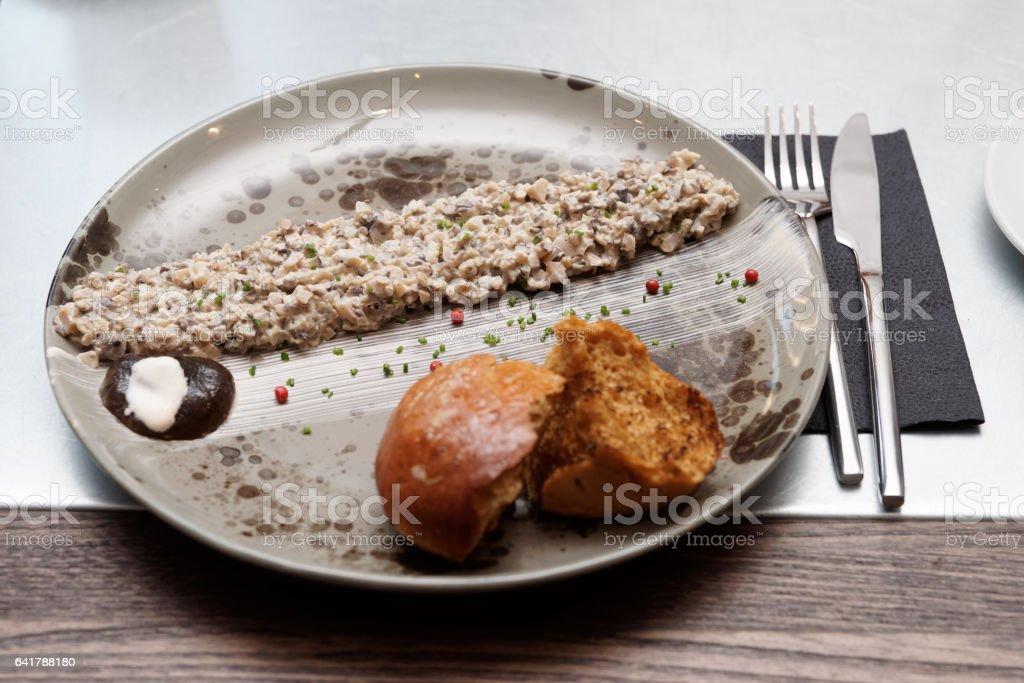 Mushroom caviar on plate stock photo