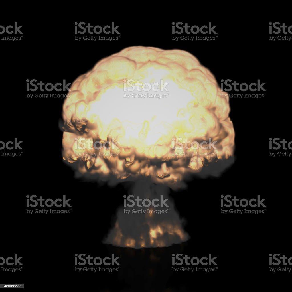 Mushroom Cloud of Nuclear Explosion (Isolated on Black) stock photo