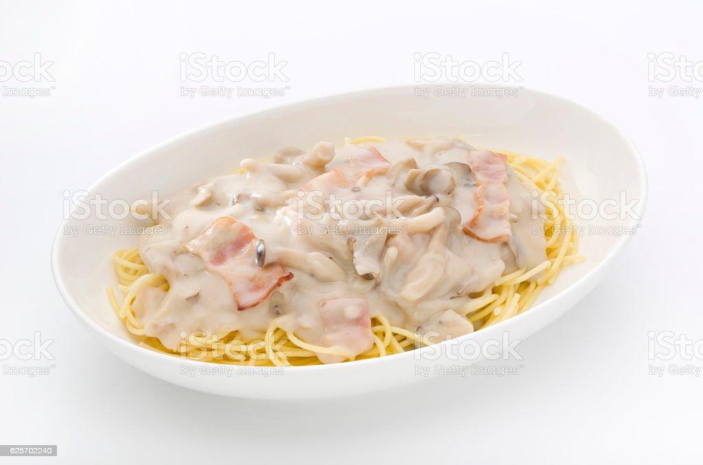 Mushroom cream pasta stock photo