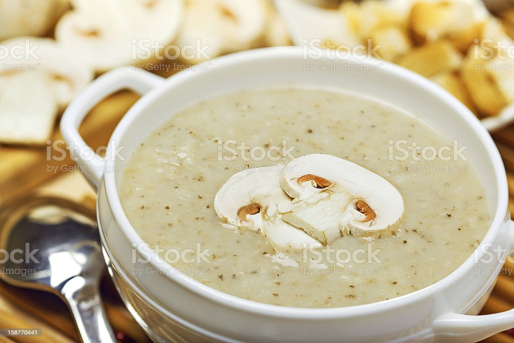 Mushroom cream soup stock photo