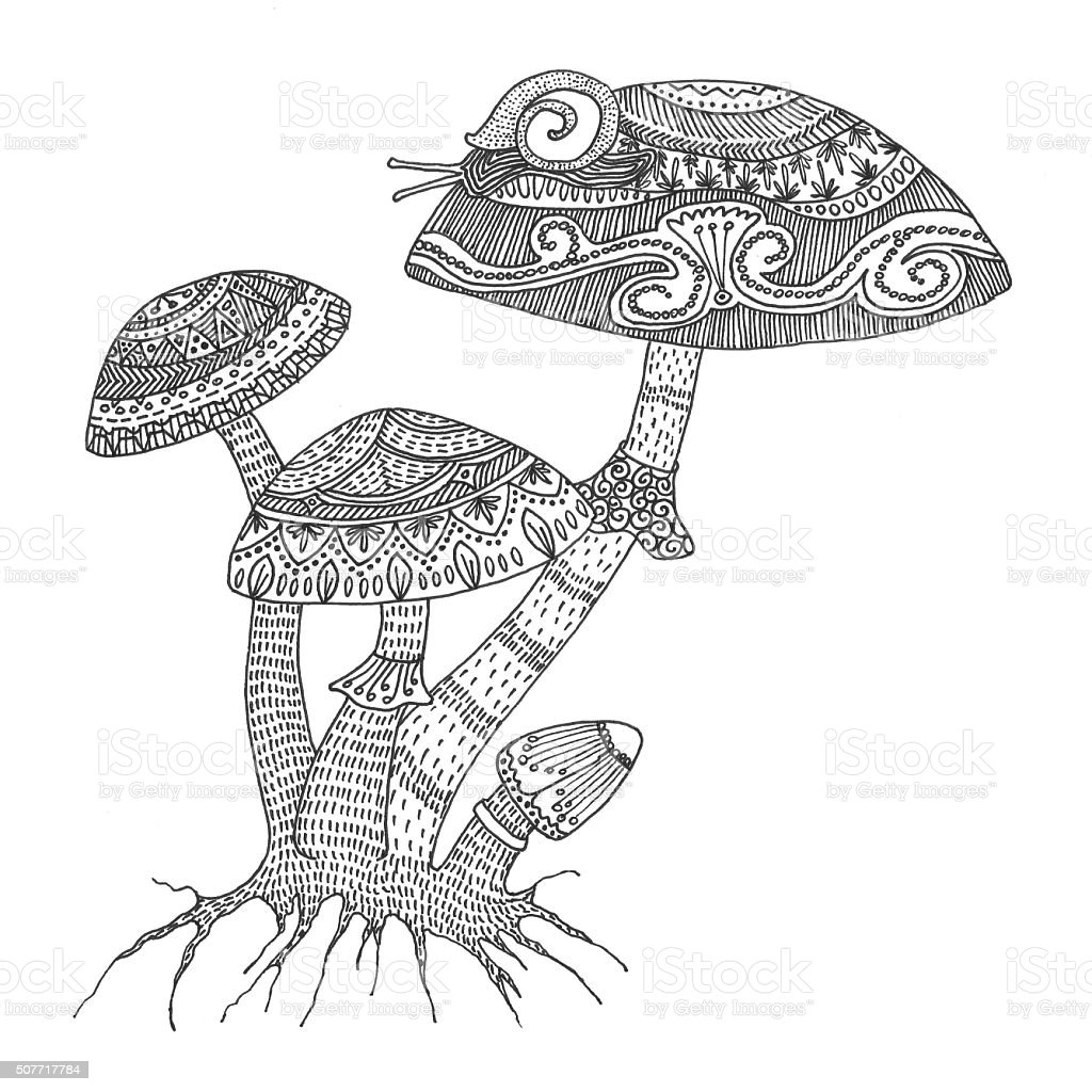 Mushroom fungus black hand-drawn intricate adult coloring book stock photo